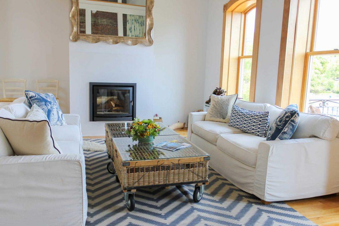 Camden Harbor Loft Living Room
